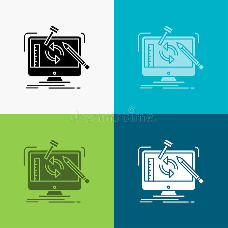 konstruujący, projekt, narzędzia, warsztat, przerobowa ikona Nad Różnorodnym tłem glifu stylu projekt, projektuj?cy dla sieci i a royalty ilustracja