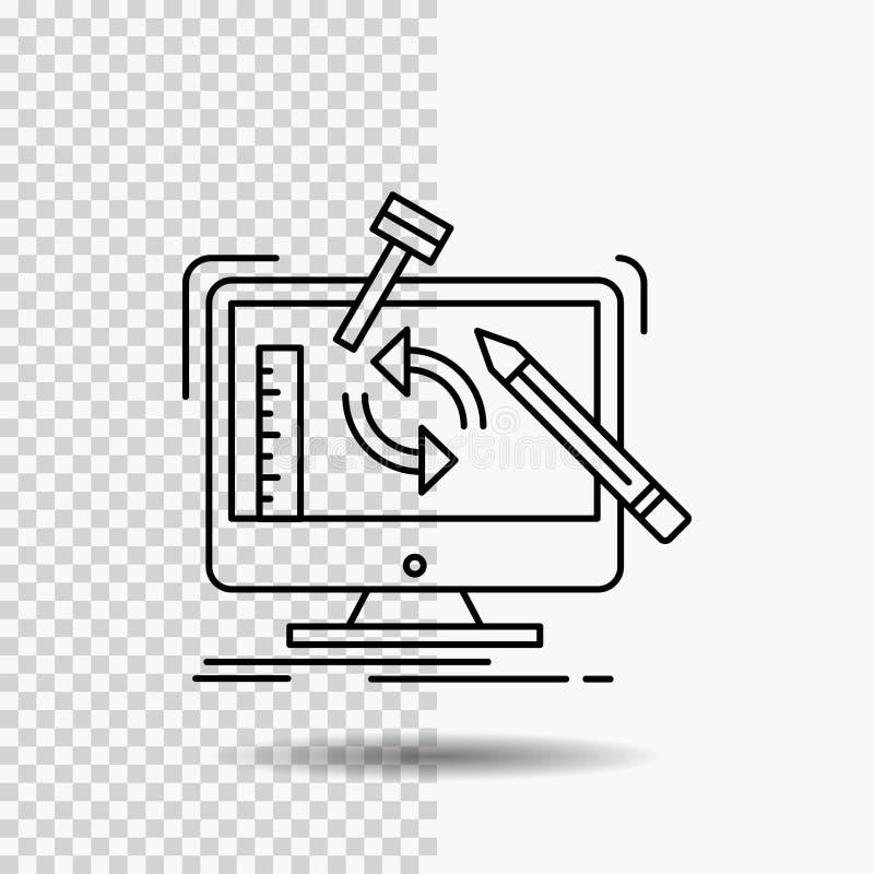 konstruujący, projekt, narzędzia, warsztat, przerobowej linii ikona na Przejrzystym tle Czarna ikona wektoru ilustracja ilustracja wektor