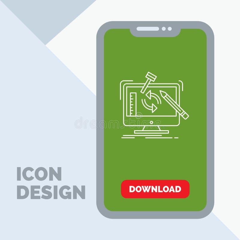 konstruujący, projekt, narzędzia, warsztat, przerobowej linii ikona w wiszącej ozdobie dla ściąganie strony ilustracji