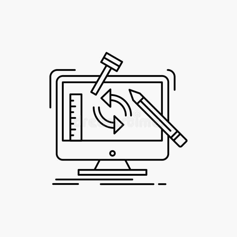 konstruujący, projekt, narzędzia, warsztat, przerobowej linii ikona Wektor odosobniona ilustracja ilustracji