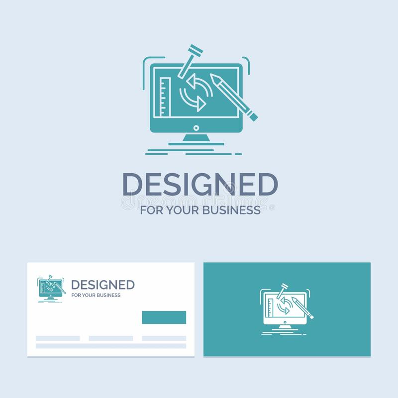 konstruujący, projekt, narzędzia, warsztat, przerobowy Biznesowy logo glifu ikony symbol dla twój biznesu Turkusowe wizyt?wki z ilustracji