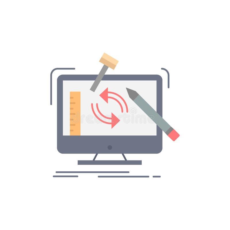 konstruujący, projekt, narzędzia, warsztat, przerobowy Płaski kolor ikony wektor ilustracji