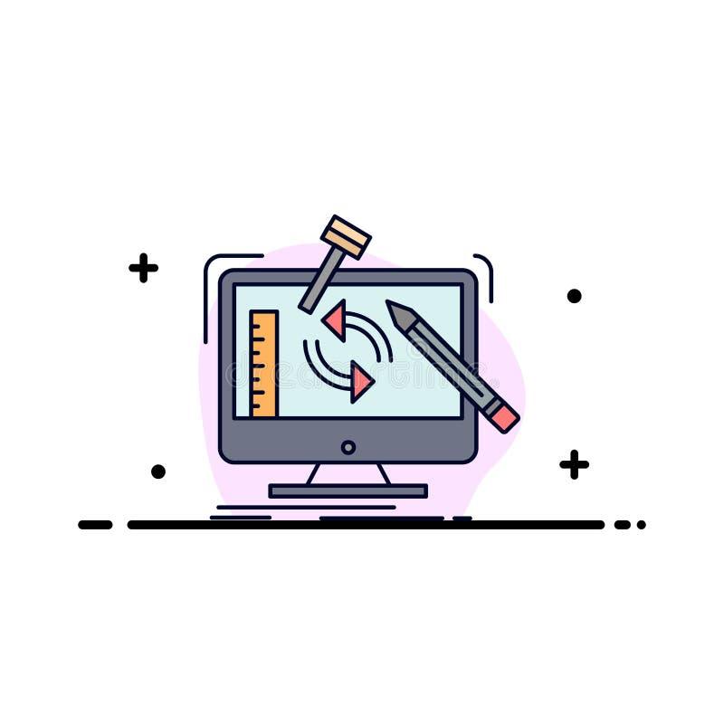 konstruujący, projekt, narzędzia, warsztat, przerobowy Płaski kolor ikony wektor ilustracja wektor