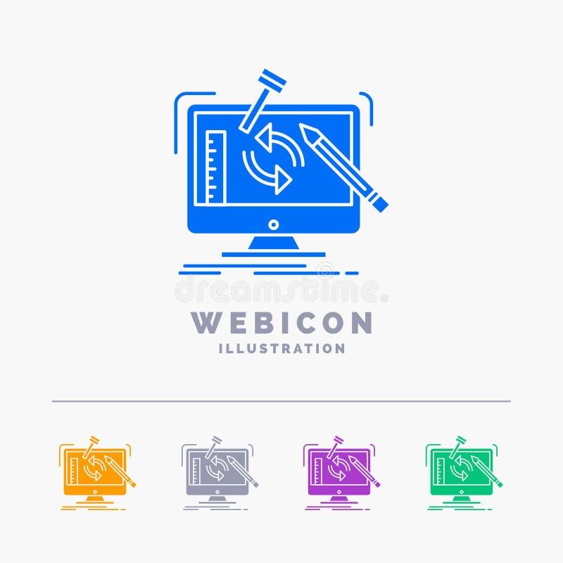 konstruujący, projekt, narzędzia, warsztat, przetwarza 5 kolorów glifu sieci ikony szablon odizolowywającego na bielu r?wnie? zwr ilustracji