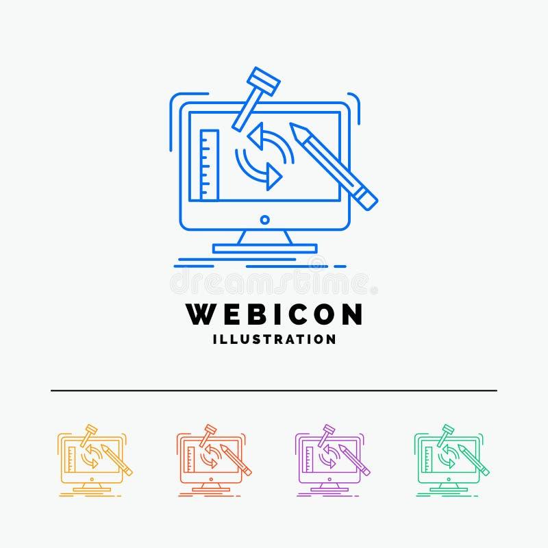 konstruujący, projekt, narzędzia, warsztat, przetwarza 5 koloru linii sieci ikony szablon odizolowywającego na bielu r?wnie? zwr? ilustracji