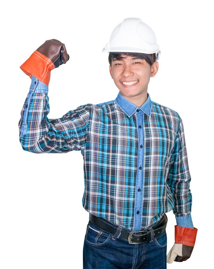 Konstruujący ręki pięść robi symbolowi Na kierowniczym bielu być ubranym Pasiastą koszulową błękitną i rękawiczkową skórę z biały fotografia stock