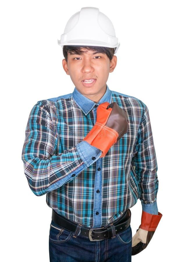 Konstruujący ręki pięść robi symbolowi Na kierowniczym bielu być ubranym Pasiastą koszulową błękitną i rękawiczkową skórę z biały zdjęcie stock