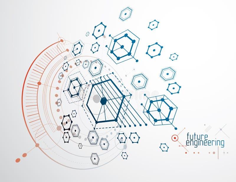 Konstruujący technologiczną wektorową tapetę robić z sześciokątami, c royalty ilustracja