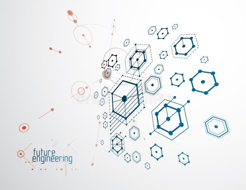 Konstruujący technologiczną wektorową tapetę robić z sześciokątami, c ilustracji