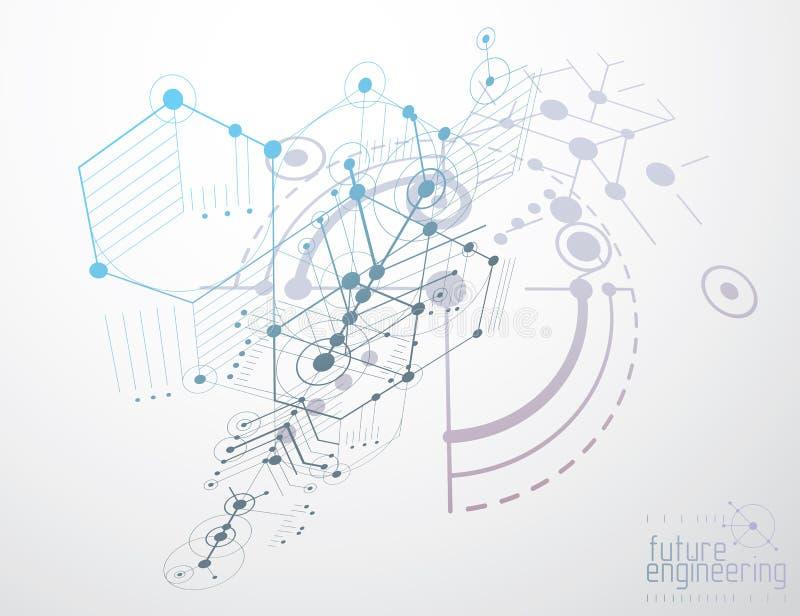 Konstruujący technologiczną wektorową tapetę robić z sześciokątami, c ilustracja wektor