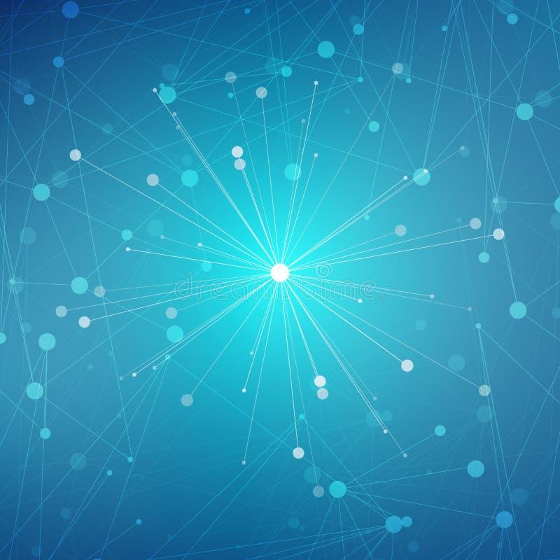 Konstruuje molekułę i komunikaci Dna, atom, neurony Nauki pojęcie dla twój projekta Związane linie z kropkami ilustracji