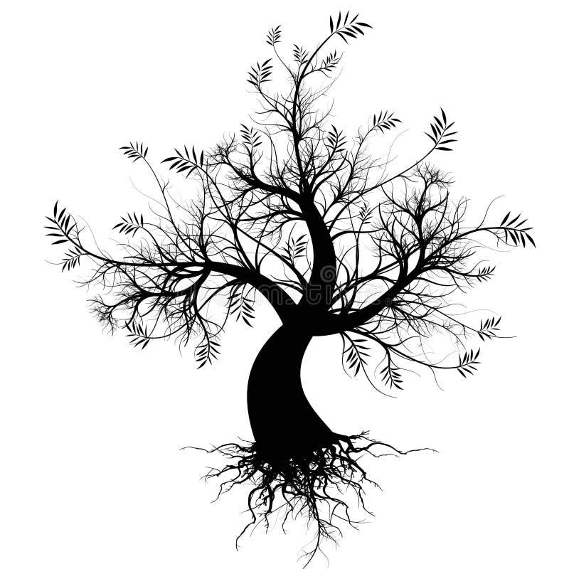 konstsilhouettetree royaltyfri illustrationer