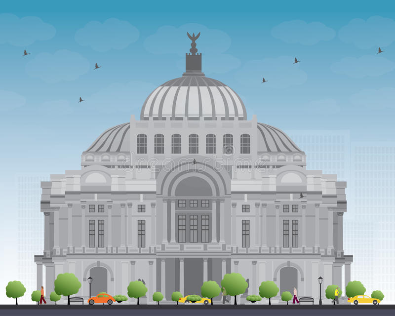 Konstslotten/Palacioen de Bellas Artes i Mexico - stad stock illustrationer
