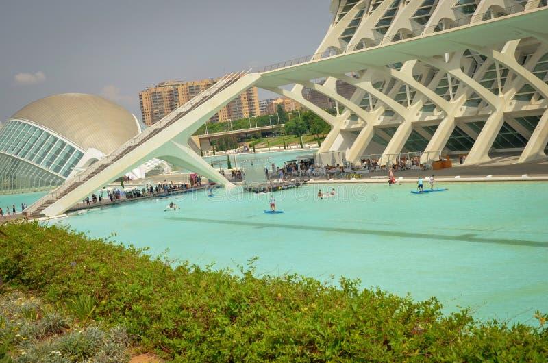 konststadsvetenskaper valencia Valencia stad av vetenskap Hemisferic Valencia, Spanien royaltyfri foto