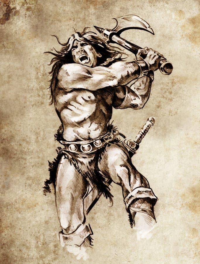 konststridighet skissar tatueringkrigare royaltyfri illustrationer