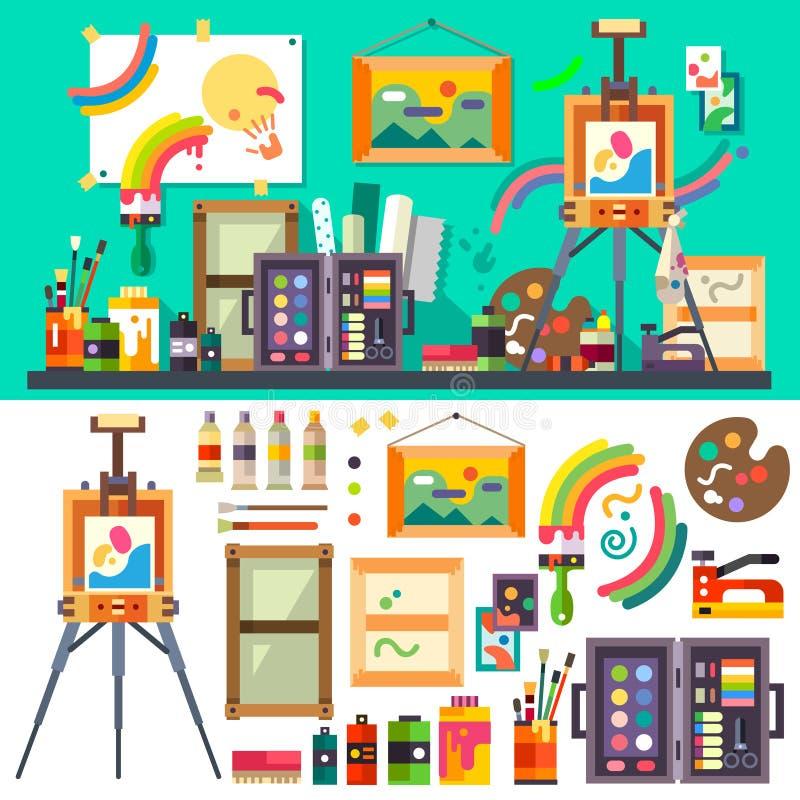 Konststudio, hjälpmedel för kreativitet och design royaltyfri illustrationer