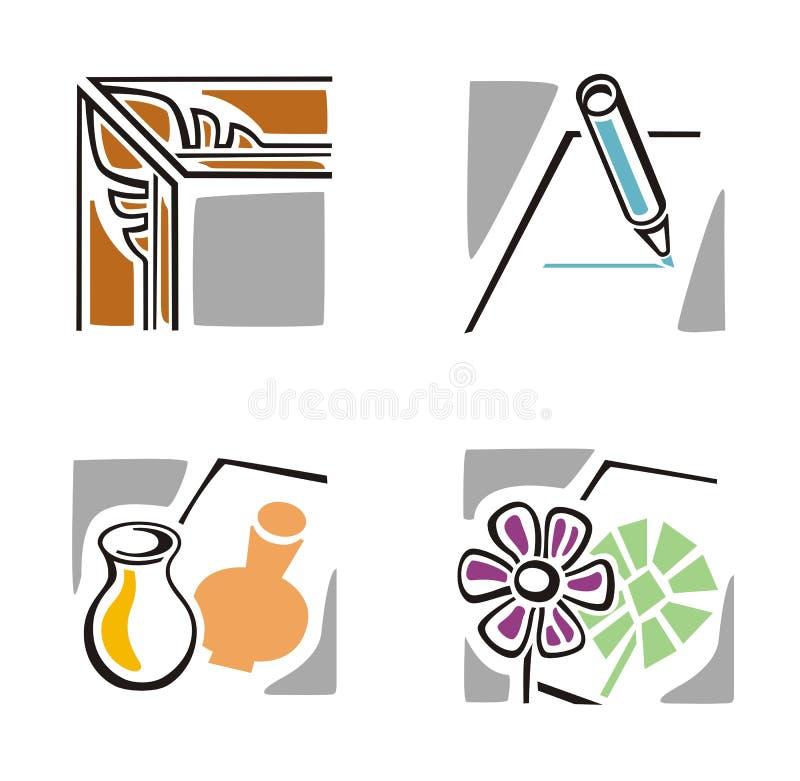 konstsymbolsserie stock illustrationer