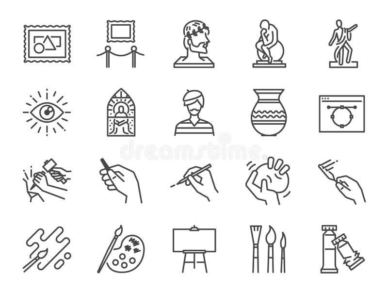 Konstsymbolsuppsättning Inklusive symbolerna som konstnär, färg, målarfärg, skulptur, staty, bild, gammal förlage, konstnärligt o stock illustrationer