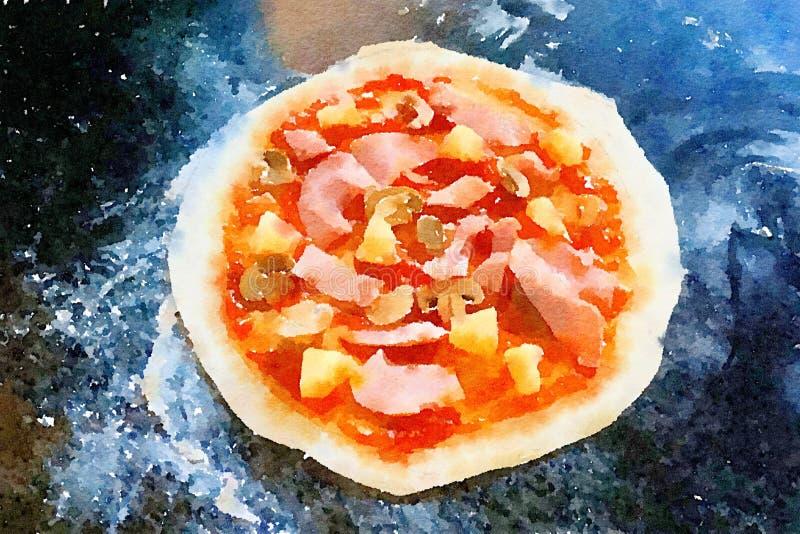 Konstvattenfärg av varm pizza royaltyfri illustrationer