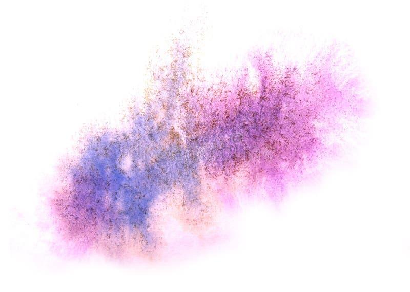 Konstvattenfärgblått, purpurfärgad färgstänk c för akvarell för färgpulvermålarfärgklick arkivbild