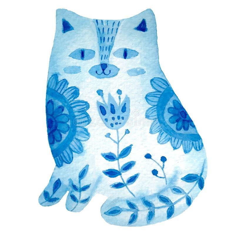 Konstvattenfärgillustration med den härliga katten i modellen och blommor, folk stule affisch för garnering din inre vektor illustrationer