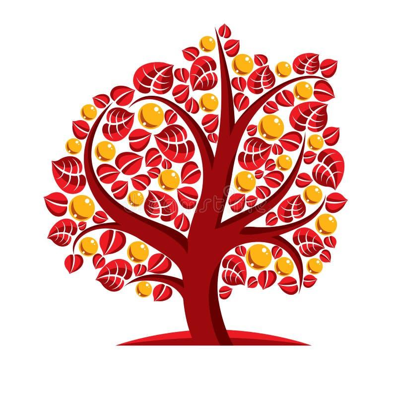 Konstvektorillustration av trädet med orange sidor, höstseaso vektor illustrationer