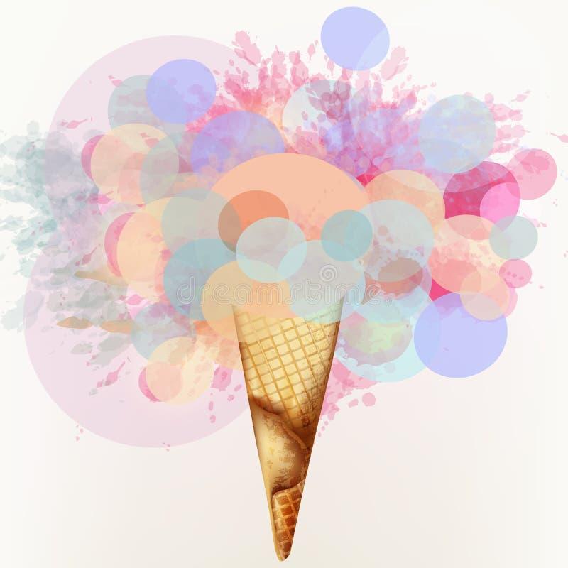 Konstvektorillustration med glass från abstrakta kulöra cirklar och färgpulverfläckar royaltyfri illustrationer