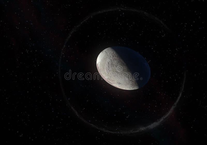 Konstverk av Haumea den ellipsoidal dvärg- planeten med cirklar i det Kuiper bältet arkivbild