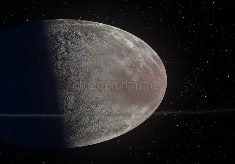 Konstverk av Haumea den ellipsoidal dvärg- planeten med cirklar i det Kuiper bältet royaltyfria foton