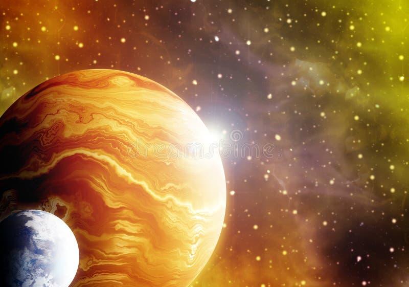 konstverk för illustration 3D av utrymme med planeter och nebulas stock illustrationer