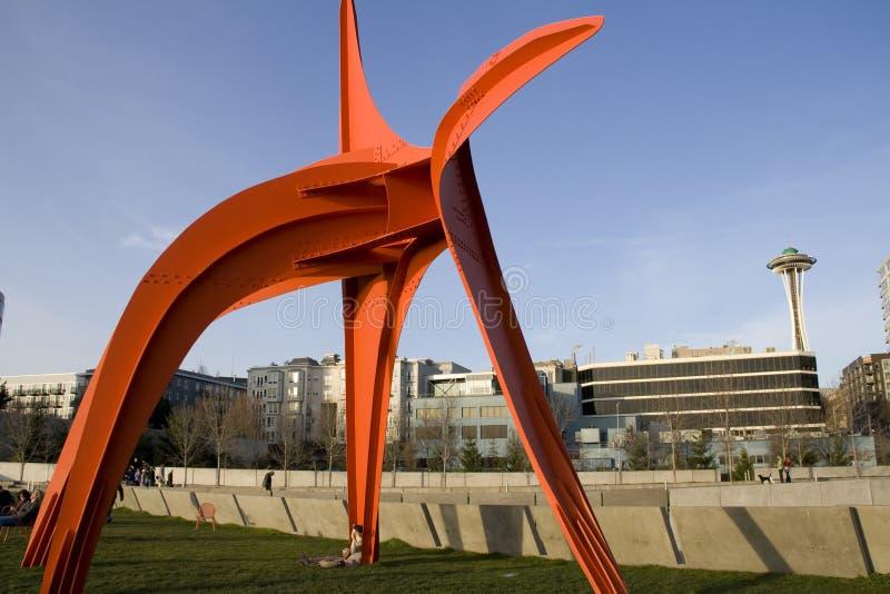 Olympisk skulptur parkerar Seattle royaltyfria bilder