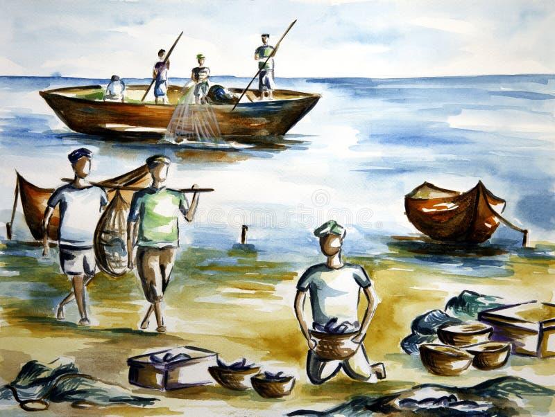Konstverk som visar fiskare på havskusten royaltyfri illustrationer