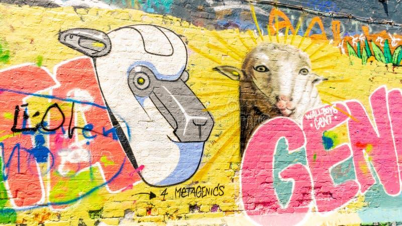 Konstverkcloseup på grafittigatan royaltyfri foto
