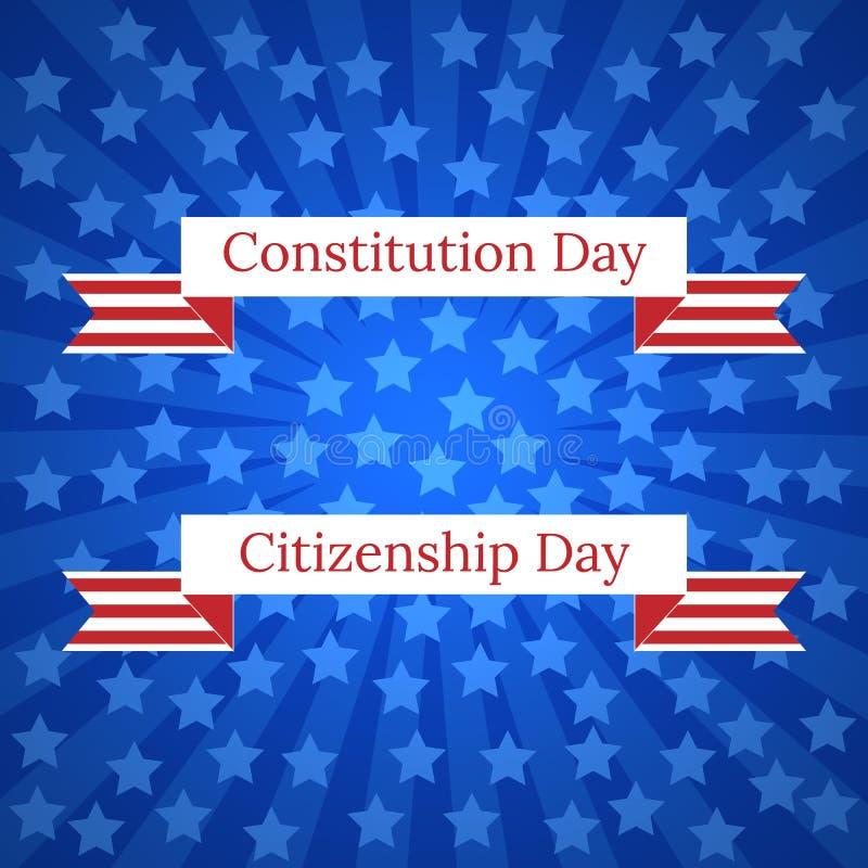 Konstytucja dzień i obywatelstwo dzień w Stany Zjednoczone 17 Wrzesień Błękitni promienie od centrum, błękitne gwiazdy, taśma z i royalty ilustracja