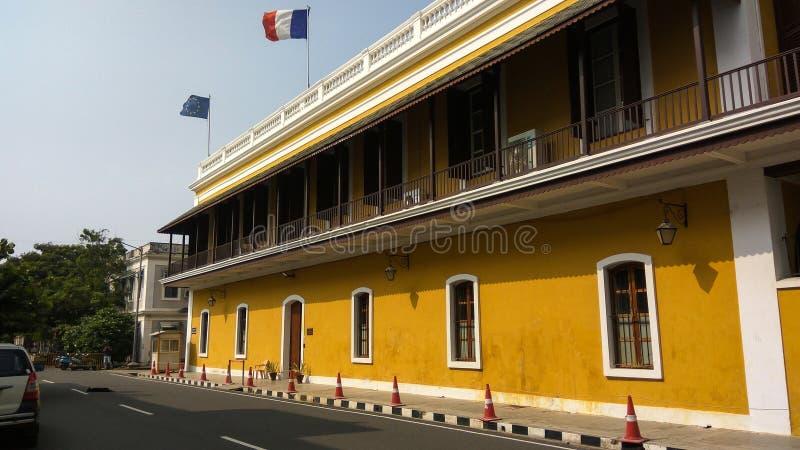 Konsulat Generalny Francja w Pondicherry Consulat général de Francja à Pondichéry zdjęcia stock