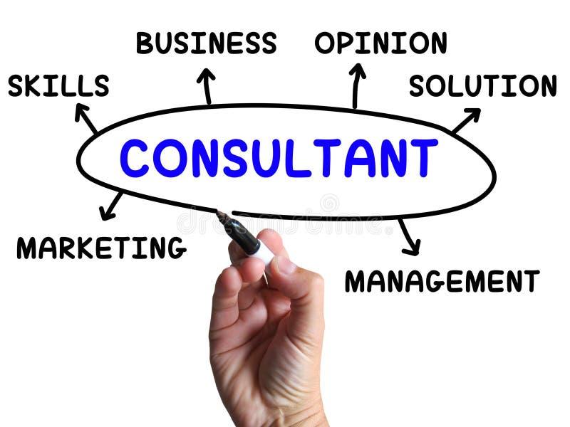 Konsulent Diagram Shows Expert med åsikter royaltyfri illustrationer