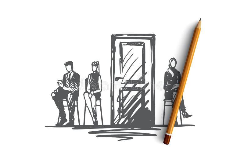 Konsultacja, testowanie, kandydat, poborowy pojęcie Ręka rysujący odosobniony wektor ilustracja wektor