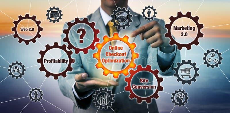 Konsultant Zapoczątkowywa Online kasy optymalizację ilustracja wektor