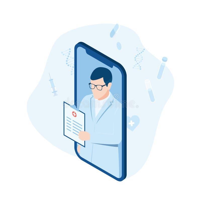Konsultation med den yrkesmässiga doktorn direktanslutet på en smartphone royaltyfri illustrationer