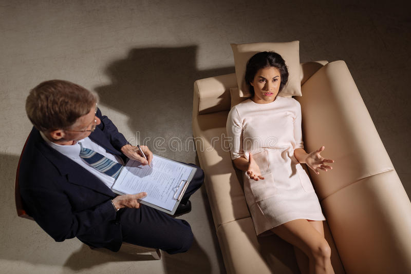 Konsultation med psykologen arkivfoto