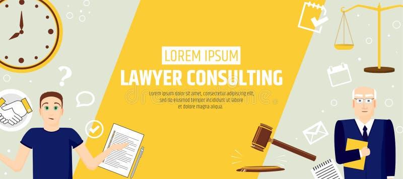 Konsultera för advokat En banermall av en advokatbyrå eller ett företag Laglig service för reklamblad stock illustrationer