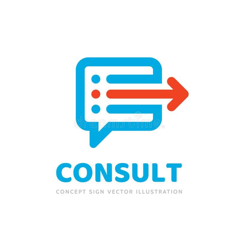 Konsultera - illustration för vektor för mall för begreppsaffärslogo Idérikt tecken för meddelande Talande symbol för dialogprats royaltyfri illustrationer