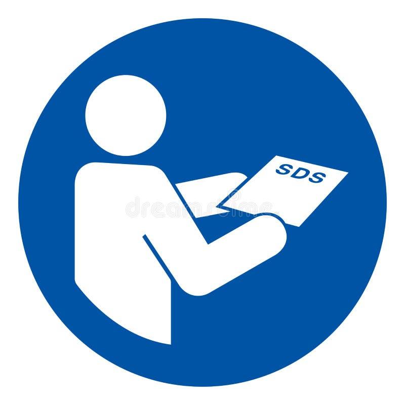 Konsultera tecknet för SDS-arksymbolet, vektorillustrationen som isoleras på den vita bakgrundsetiketten EPS10 stock illustrationer