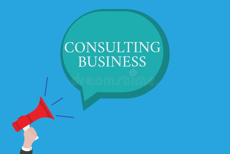 Konsulterande affär för begreppsmässig handhandstilvisning Experter för firma för konsultering för affärsfototext ger professione royaltyfri illustrationer