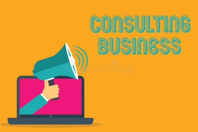 Konsulterande affär för begreppsmässig handhandstilvisning Experter för firma för konsultering för affärsfototext ger yrkesmässig stock illustrationer
