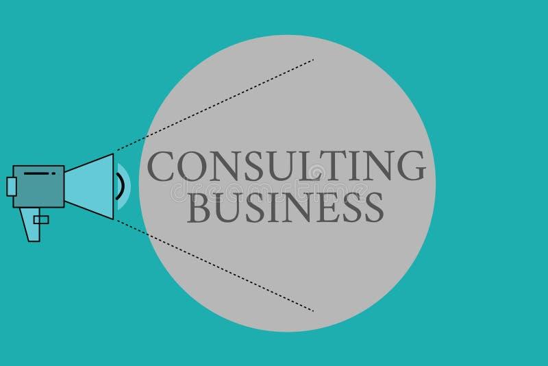 Konsulterande affär för begreppsmässig handhandstilvisning Experter för firma för konsultering för affärsfototext ger yrkesmässig royaltyfri illustrationer