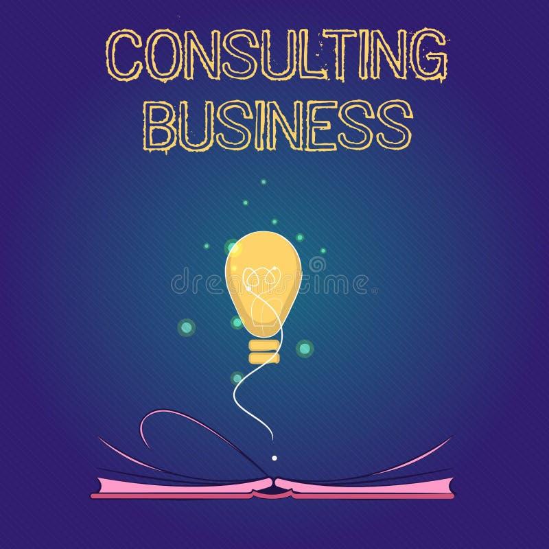 Konsulterande affär för handskrifttext För konsulteringfirma för begrepp ger menande experter yrkesmässig rådgivning stock illustrationer