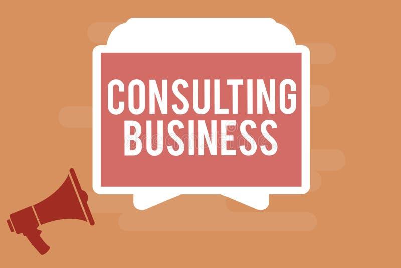 Konsulterande affär för ordhandstiltext Affärsidéen för experter för konsulteringfirma ger yrkesmässig rådgivning royaltyfri illustrationer