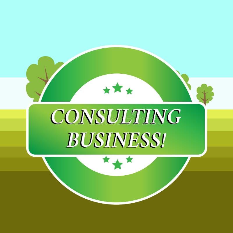 Konsulterande aff?r f?r begreppsm?ssig handhandstilvisning Affärsfotoet som ställer ut experter för konsulteringfirma, ger sig royaltyfri illustrationer