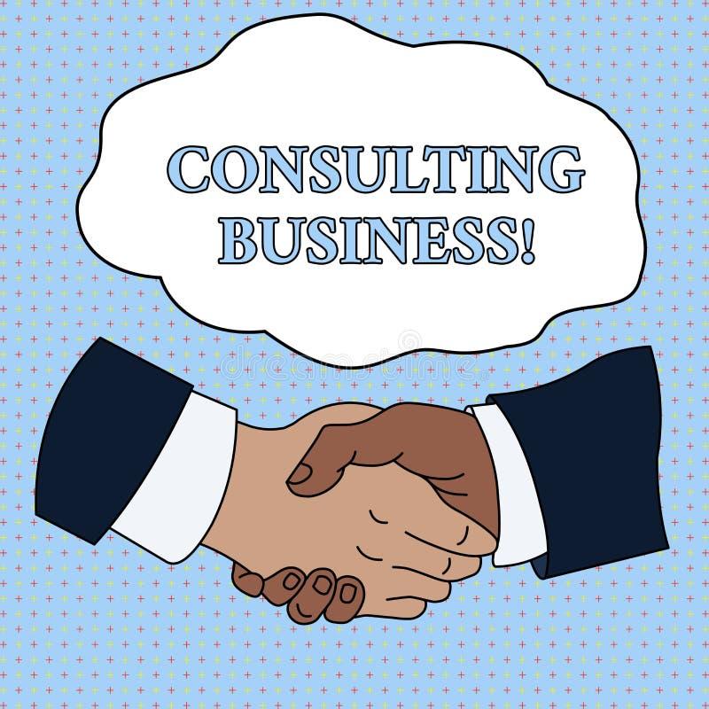 Konsulterande aff?r f?r ordhandstiltext Affärsidéen för experter för konsulteringfirma ger den yrkesmässiga rådgivninghandskakan vektor illustrationer